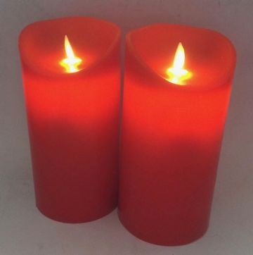 "2X -  7"" RED Flameless LED  Round Pillar Candles"